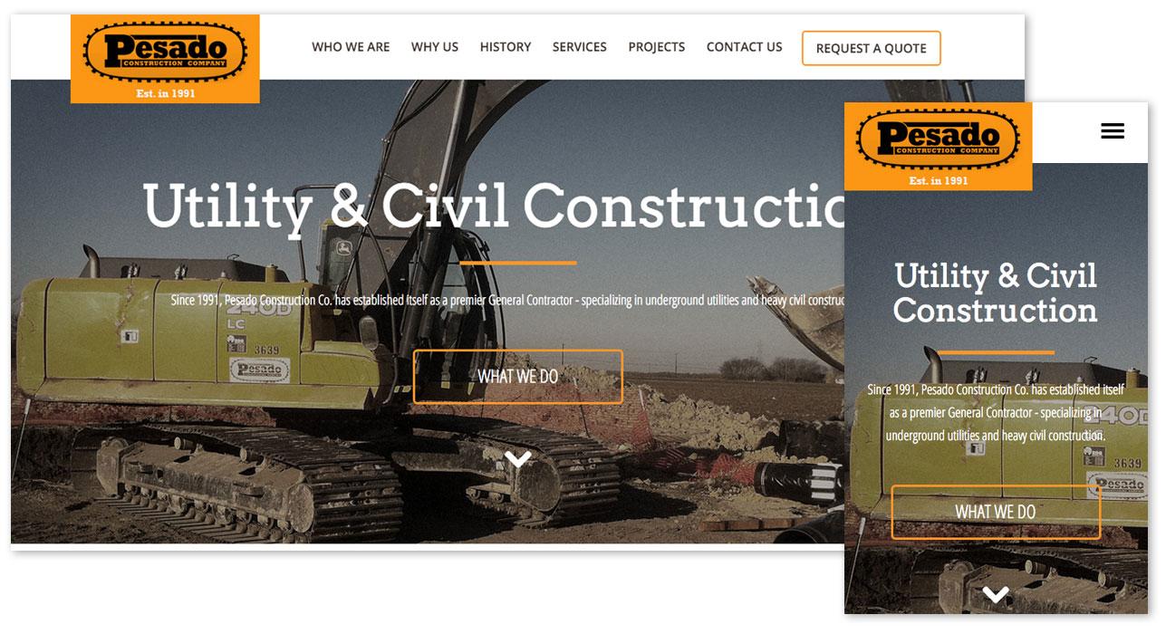 Pesado Construction Responsive Home Page